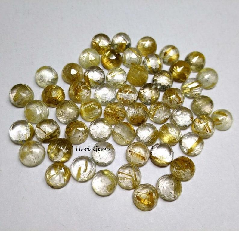 rutilated quartz round 5 Pieces 8mm golden rutilated quartz rose cut cabochon gemstone rutilated quartz rosecut cabochon loose gemstone