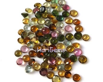 10 piece 2mm Multi Tourmaline Faceted Round Calibrated Size Gemstone - Natural Multi Color Tourmaline Round Faceted Loose Gemstone