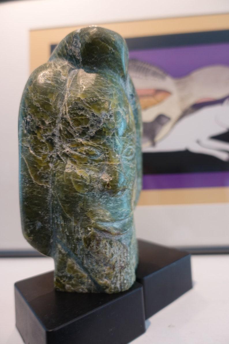 Bearded Inuk Bird Transformation Vintage Inuit Art Carving Signed  Mannumi