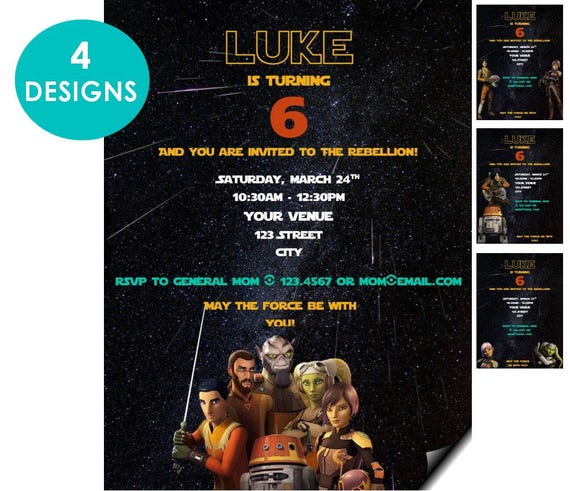Star Wars Rebels Personalized Birthday Evite Invitation
