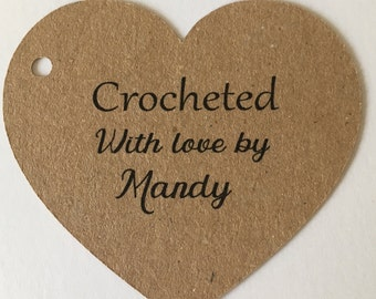 Personalised Tags, Crocheted/ Knitted/Stitched/Handmade With Love, Thank You , Heart Tags ,Gift Tags ,Business Branding , Favour Tags,