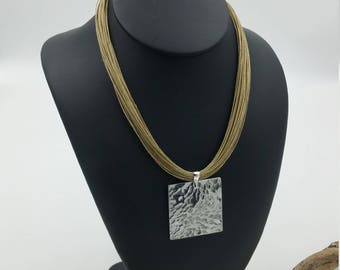 Hammered square necklace