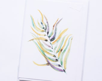Leaf Print Card A6 Blank Inside Notelet