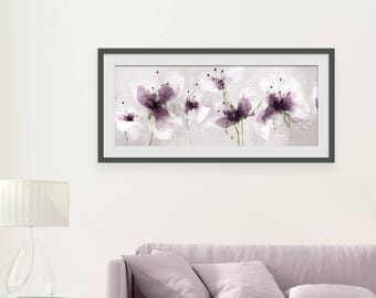 Floral Art Print. Flower Print. Flower Painting. Floral Painting. Purple Print. Wall Art. Wall Decor