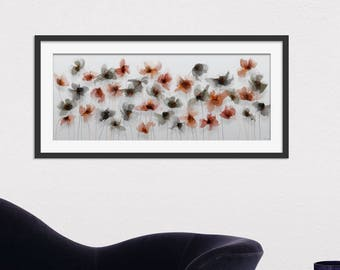 Floral Art Print. Flower Print. Flower Painting. Floral Painting. Grey Flowers. Poppy Print. Wall Art. Wall Decor