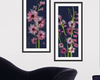 Floral Art Print. Flower Print. Flower Painting. Floral Painting. Pink Flowers. Wall Art. Wall Decor