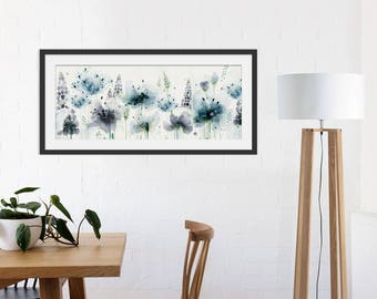 Floral Art Print. Flower Print. Flower Painting. Floral Painting. Blue Print. Wall Art. Wall Decor