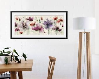 Floral Art Print. Flower Print. Flower Painting. Floral Painting. Pink Print. Wall Art. Wall Decor
