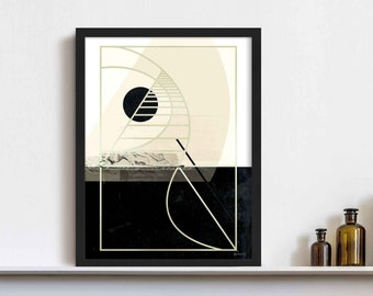 Abstract Art Deco Wall Art, Black and Gold Abstract Painting, Minimalist Abstract Print, Modern Geometric Decor