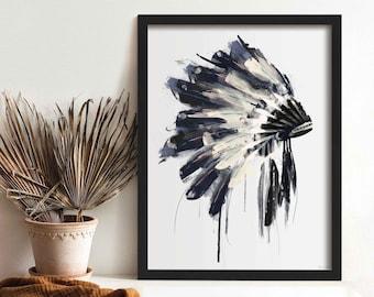 Native American Headdress Wall Art, Modern Feather Print, Framed Boho Wall Art Prints