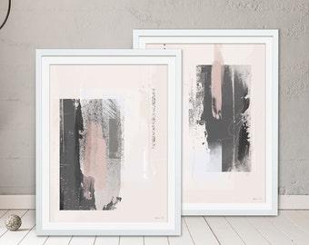 Abstract Framed Prints  - Grey Prints. Pink Prints. Set of 2 by Green Lili. Digital Art. Wall Art. Abstract Gift. Interiors.