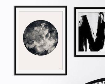 Moon Print. Moon Picture. Moon Art. Lunar Art. Lunar Painting. Monochrome. Boho Art. Inverted Moon. Green Lili