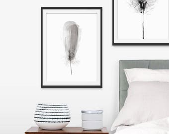 Feather Print. Feather Picture. Feather Art. Grey Art. Feather Painting. Monochrome. Green Lili