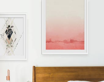 Coral Pink Abstract Print. Coral Pink Art, Minimal Art, Gift for Girls, Pink Interiors, Wall Decor