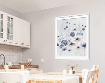 Floral Art Print. Floral Art. Floral Print. Floral Painting. Purple Flower Picture. Daisy & Lupin Picture. Wall Art. Wall Decor