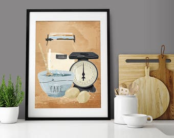 Baking Gifts. Baking Print. Cake Picture. Cooking Gift. Kitchen Decor. Wall Art.