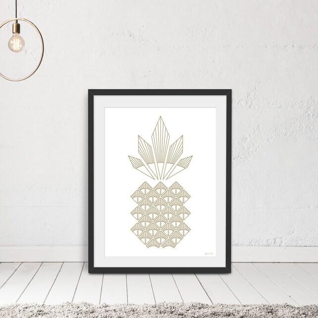 Pineapple Wall Art Gold Pineapple Art Deco Art Prints | Etsy