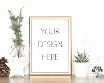 Download Free Gold frame mockup nature mockup art mockup picture mockup poster mockup stock natural white decorations A4 8x11 nordic scandinavian PSD Template