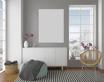 Lege muur Mockup zwart Frame Art leven van kamer interieur
