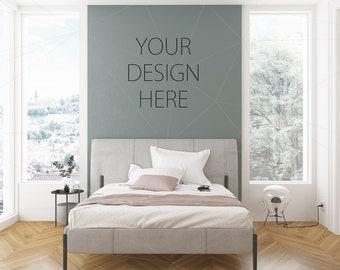 Download Free Blank Wall Mockup Art Gray Bedroom Interior Room Mockup Poster Artwork Canvas Design Nordic Female Female Feminine PSD Template