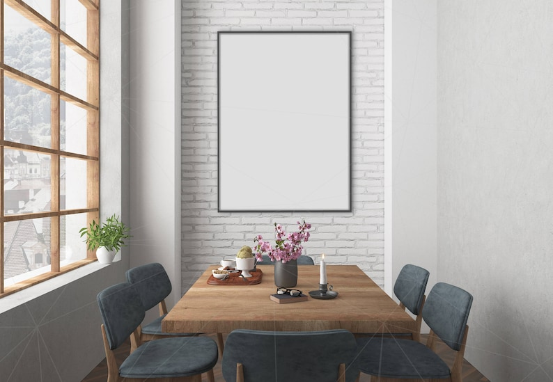 Blank Wall Mockup Black Frame Art Lounge Interior Dining Room