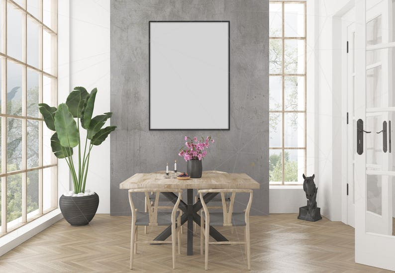 Blank Wall Mockup Black Frame Art Dining Room Interior