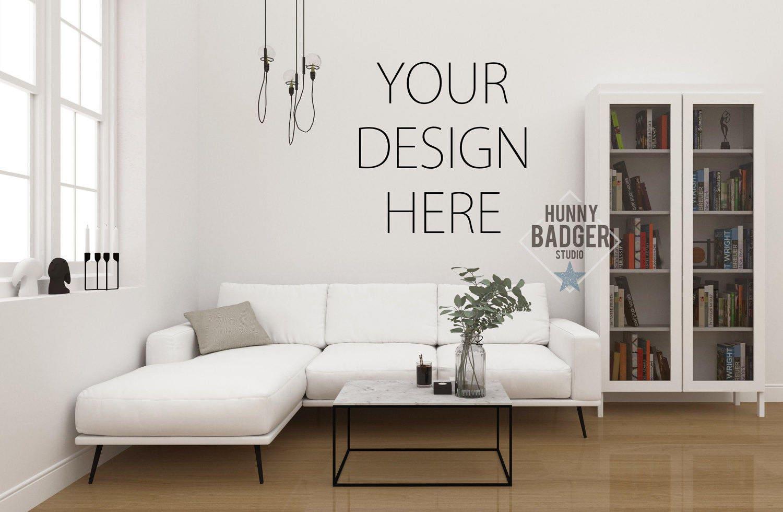 Blank Wall Mockup Frame Art Mockup Living Room Coffee
