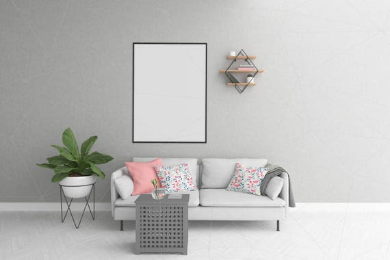 Blank Wall Mockup Black Frame Wall Art Living Room Interior | Etsy