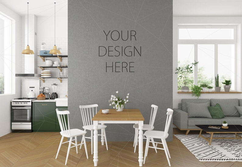 Blank Wall Mockup Art Lounge Interior Living Room