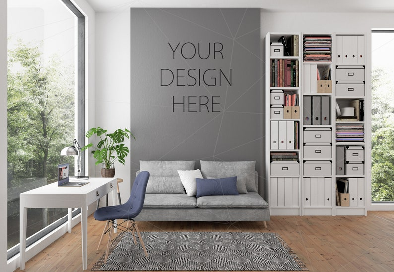 Blank Wall Mockup Art Home Office Workspace Interior Room Etsy