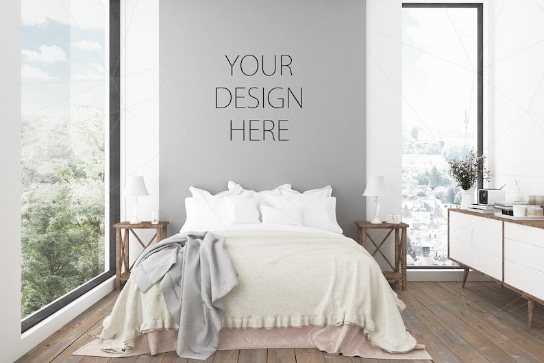 Blank Wall Mockup Art Gray Rustic Bedroom Interior Room Mockup Etsy