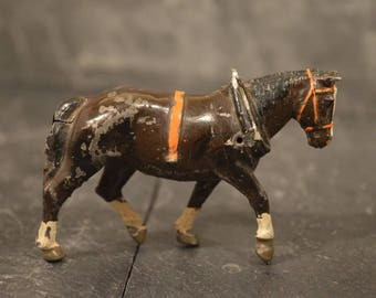 Tin lead brown cold painted working horse