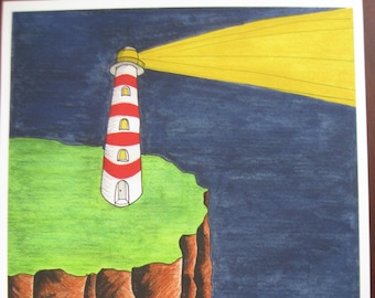 Solitary Lighthouse with Red Horizontal Stripes