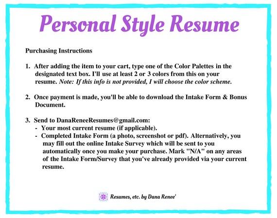 resume writing service personal style resume resume etsy