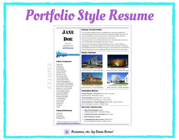 Resume Writing Service Portfolio Style Resume Cv Etsy