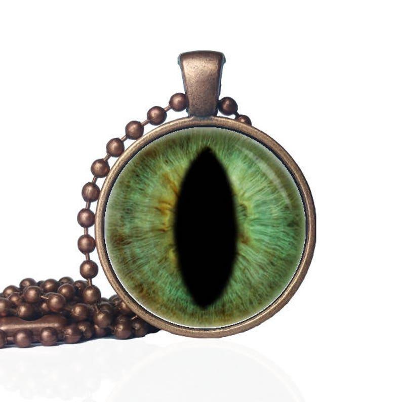 99cac658abdfaa Hazel Green Cat Eye Cat Eye Necklace Dragon Eye Jewelry | Etsy