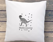 Name pillow for boys and baby with dinosaur and birthdate. Unique gift for a baby shower, christening, kids birthday, kids room decoration