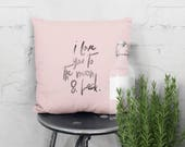 Handprinted quote pillow with love declaration for the new born. Original nursery decoration,  Kids room. I love you to the moon and back.