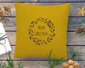 Personalized holiday decor cushion with Family Name and Merry Christmas in wreath. Vintage Christmas handprinted Farmhouse style nordic look