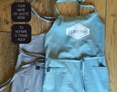 Extra big linen apron personalized with handprinted name or own quote in vintage graphic! A prefect gift for a birthdays for man or woman