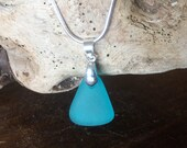 Real 925 sterling silver necklace with blue sea glass pendant, combines with matching hoops. For summer, beach and sea lovers!