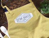 Custom Star Baker apron premium size and quality, extra large linen cotton apron personalised with handprinted name or own quote with whisk.