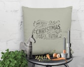 vintage holiday decor cushion with Merry Christmas and a happy new year graphic print. handprinted Farmhouse style nordic look