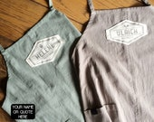 Extra large linen apron personalized with handprinted name or own quote in vintage graphic! A prefect couple gift or for him and her