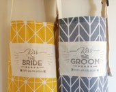 Kiss the bride, kiss the groom aprons with custom wedding date! A prefect gift for a wedding or engagement party.