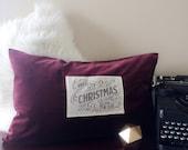 Luxury velvet holiday pillow with nostalgic vintage woodland print applique, farmhouse Christmas decor pillow in high quality velvet, hand