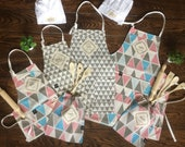 Custom Kitchen apron and baking set for the whole family! For Mom and Dad and the kids! A prefect family gift for a housewarming,