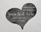 Custom Text heart pillow. Personal love declaration handprinted in a heart on a beautiful cushion or fabric Art print.Ideal gift for lovers.