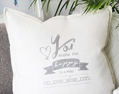 Custom love quote pillow handprinted. Unique gift for boyfriend, girlfriend, an anniversary, a birthday or as love decor for your home