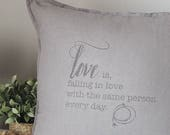 Love declaration pillow. Unique handprinted gift for Valentine, an anniversary, a birthday, simply show your love, or as wedding decor